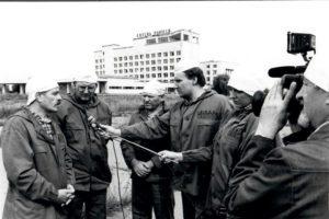 President Usichenko and IFRC President Vebber, Chernobyl station